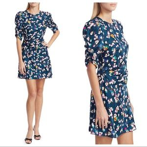 Tanya Taylor Liz Silk Floral A Line Dress Blue